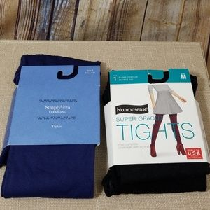 tights M opaque lot of 2 blue black NWT